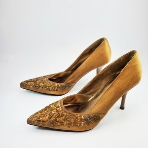Delicious beaded Coffee pointed heels sz: 8